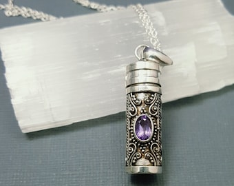 Stash necklace - Amethyst secret box pendant - Sterling silver prayer box necklace - poison necklace - pill box pendant -February birthstone