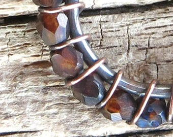 Beaded hoop earrings - brown faceted Czech glass beads copper wire wrapped