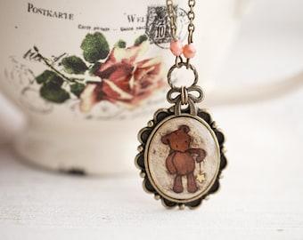 Teddy Bear necklace, Teddy bear jewelry, Teddy necklace, Teddy bear pendant, Retro style teddy bear necklace, Cute bear necklace gift
