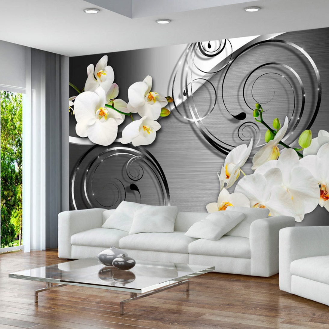 photo papier peint murales non tiss 3d moderne art floral. Black Bedroom Furniture Sets. Home Design Ideas