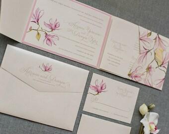 Pink Pocket Wedding Invitation, Pink Wedding Invitations, Floral Garden Wedding, Elegant Floral Wedding Invitation | Adrianna & Dwayne