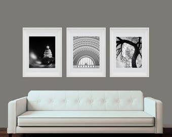 Washington DC, Art, Set of 3, Black and White Photography, Capitol, Union Station, Monument, Washington DC Print Set, DC Wall Decor