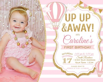 Hot Air Balloon Girl Birthday Invitation. First Birthday Invitation. Up Up and Away. Girl Birthday Invitation. Invitation with a photo.