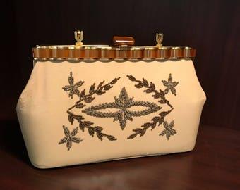Vintage Adele Miami Florida Handbag Beaded Ivory Leather