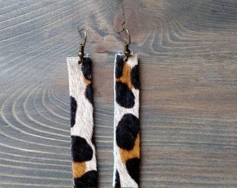 Leopard Drop Earrings - Long Leather Drop Earrings - Leather Jewelry - Leopard Leather Dangle Earrings - Lovespangle