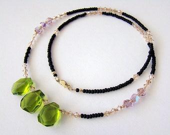 Upcountry Necklace, Olive Quartz Necklace, Green Quartz Swarovski Crystal Necklace, Seed Bead Necklace, Boho Jewelry