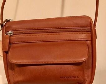 Fossil handbag crossbody brown leather shoulder bag Vintage