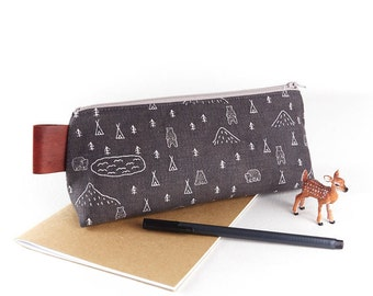 Woodland Camping Fabric Large Pencil Case Gift for Guys Rustic Grey Zipper Pouch for Men Boyfriend Gift