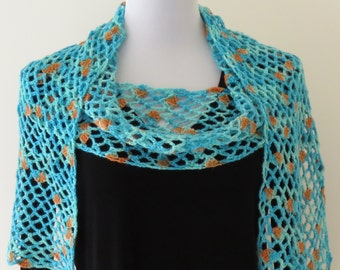 Scarf Turquoise and Orange Open Mesh