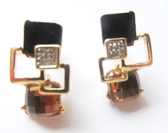 Stud Earrings black enamel Square Geometric, Brown Crystal Swarovsky Rhinestone gold color clasp and back, white transparent, adult women