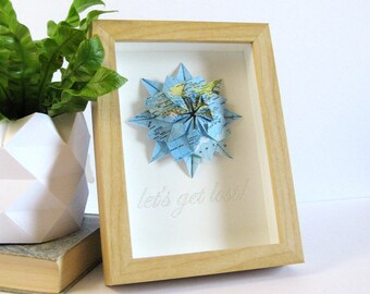 Let's Get Lost - Framed Quote Art - World Map Paper Origami Star - Shadowbox Frame Origami Art - Paper Anniversary - Paris Map Wall Decor