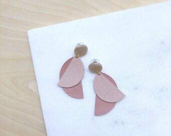 Leather earrings, statement earrings, dangle earrings, polymer clay jewelry, geometric earrings, pink earrings, long earrings,gift for women