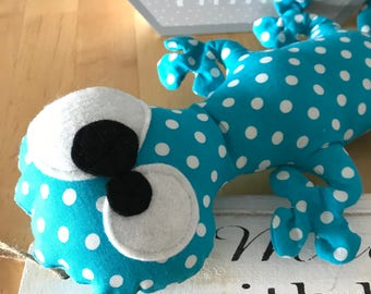 MARGOUILLAT turquoise fabric with white dots
