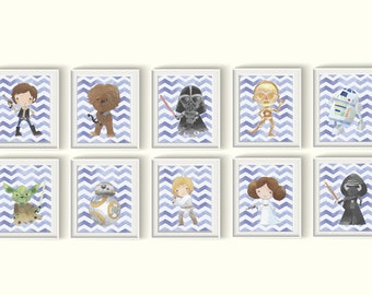 Star Wars Art Prints Set UNFRAMED Qty 6 Nursery Bedroom Decor Darth Vader, Yoda, R2D2, C3PO Chewbacca BB8, Hans Solo, Luke Skywalker Chevron
