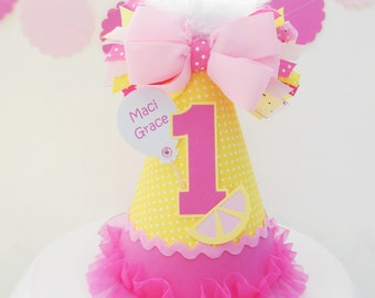 Pink Lemonade Yellow and White Pindot Birthday Party Hat - Personalized