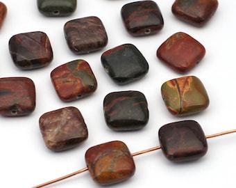 17 pcs red creek jasper beads, flat square multicolor brown grey semiprecious stone 12mm