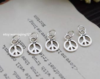 5 pcs peace sign charm round pendant in oxidized 925 sterling silver, YX2