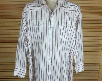 Vintage 70s pearl snap western shirt red stripes Panhandle Slim Made in USA size 16.5 x 34