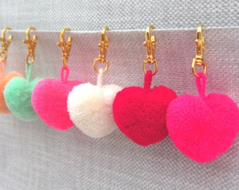 Valentines Day, Pompom Heart Keychain, Fluffy Pom Pom Keychain, Pom Zipper Pull, Purse Charm Valentines Gift,Handcrafted, Unique, 80+ Colors