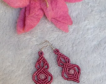 Macrame gothic earrings with fasetted labradorit gem stone