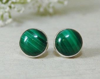 Green Malachite stud Earrings Sterling Silver Posts Earrings 10mm