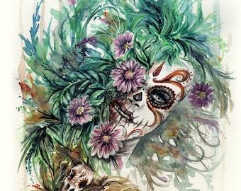 "Original watercolor - sugarskull - 25x36cm - 10""x14""  - no frame"