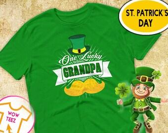 St Patricks Day, Grandpa Shirt, One Lucky Grandpa, Shamrock, St Paddy's Day, Irish T-Shirt, Grandpa Irish Shirt,  Irish Grandpa, Grandpa