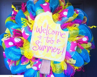 Popsicle Wreath, Summer wreath, Spring wreath, pool wreath, pool party, front door wreath, ice cream, popsicle, summer decor, pool decor