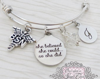 Nurse Gifts, BSN Graduate, She Believed she could so she did, Nursing jewelry gifts, Bangle Bracelet-Jewelry,College Grad Gift, Medical