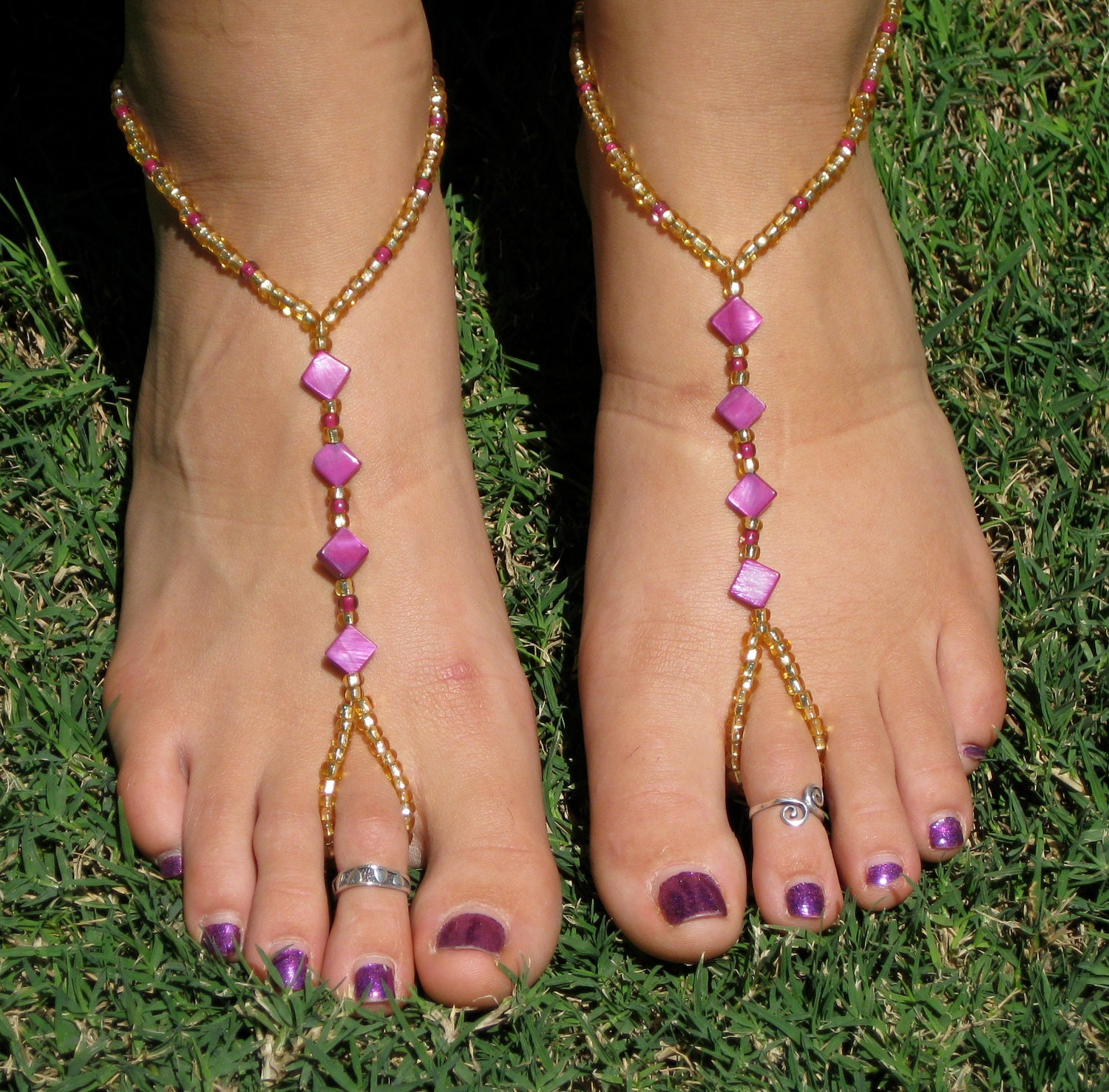 beads pin bracelet dangling anklet ankle filled bling jewelry gold