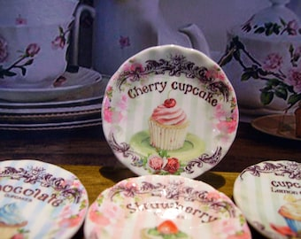 Cherry Cupcake Miniature Plate for Dollhouse 1:12 scale