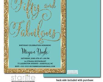 50 and Fabulous Invitations, 50 and Fabulous Birthday Invitation, Fifty and Fabulous Invite, ANY AGE Turquoise Gold Glitter, Printable