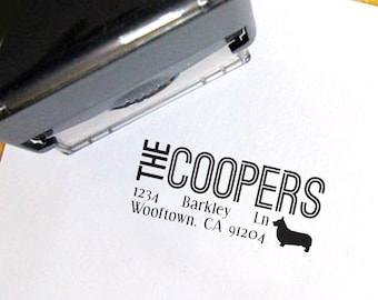Custom Self Inking Return Address Stamp with Dog Silhouette - Custom - Personalized - Pet - Housewarming