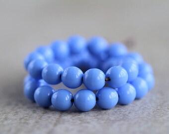 6mm Periwinkle Blue glass beads, Czech Glass Druk Beads, Glass Round Beads (50pcs) 1.2.6