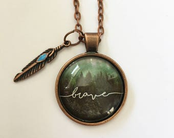Brave personalized message necklace