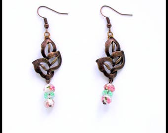 Bronze collection: Earrings hooks bronze / bronze leaf / Murano glass