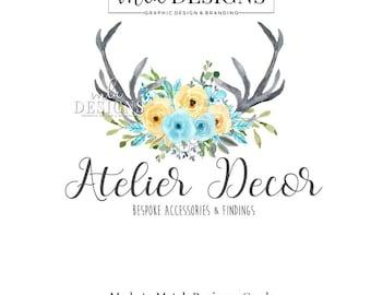 Teal Antler Logo - Watercolor Logo, Boho Logo, Rustic Romantic Logo, Floral Logo, Premade Logo, Watercolour Logo, Bohemian Logo, Teal Logo