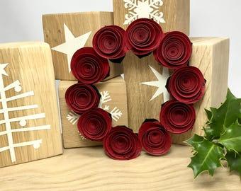 Christmas wreath, Christmas decoration, Wreath, Mini Wreath, Leaf Wreath, Red music sheet  , Christmas Hanging Decoration