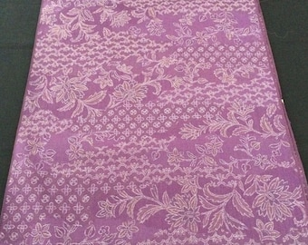 Japanese vintage purple flowers wool kimono fabric, sold by the metre, width 38cm, made in 1971, Japan import