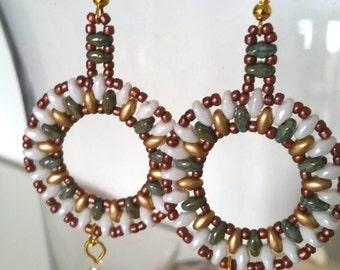 Boho Hippie Style Handmade Earrings Full Moon Earrings