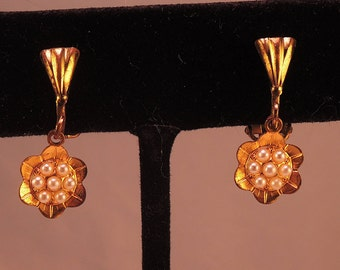 Precious Gold Tone Flower Clip Earrings with Faux Seed Pearls 1940-50s