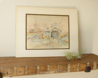 Vintage Mill Watercolor, Scenic Watercolor