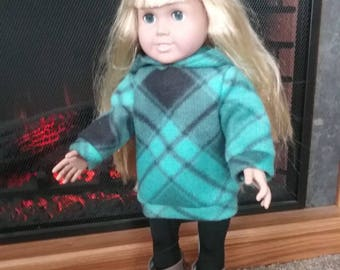 """Sweatshirt and Leggings for 18"""" Dolls such as American Girl, My Life, Journey etc.  American Girl Doll Clothes, AG Doll Outfit"""