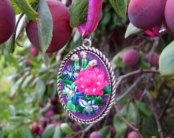 Colors of August purple pink Pendant embroidery FREE SHIPPING