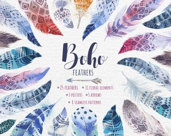 Bohemian Feathers. Clipart tribe Collection. Digital watercolor Image, PNG Watercolour feather DIY. Boho style. Hand painted set.