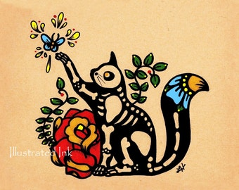 Day of the Dead CAT Dia de los Muertos Print 8 x 10 or 11 x 14 - Donation to Austin Pets Alive - Customize