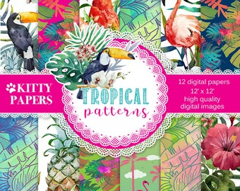 "Tropical digital paper : "" Tropical Patterns "" summer digital paper with tropical flowers, birds and colors, flamingo digital paper"