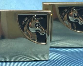 Vintage Unicorn Cufflinks Set Shields Gold Tone Square Bullet Back Cuff Links