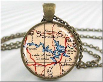 Lake Ozarks Map Pendant, Resin Charm, Lake of the Ozarks Map Necklace, Jewelry Gift Under 20, Round Bronze, Travel Charm 746RB