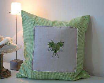 Pillow Schneeglöckchen Heart Cross Stitch